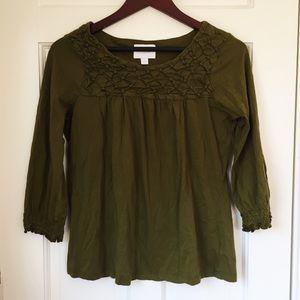 ANTHROPOLOGIE DELETTA Green Tunic Top Size L